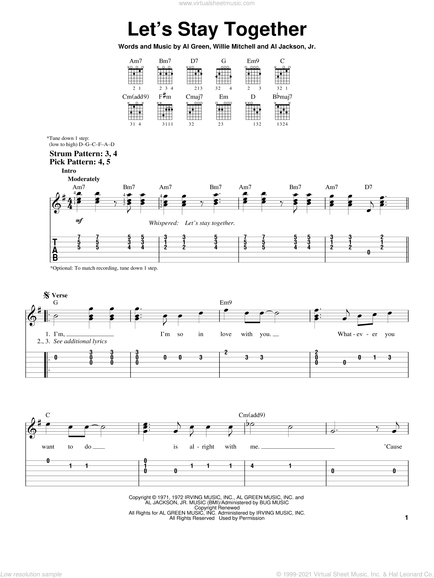Let's Stay Together sheet music for guitar solo (chords) by Al Green, Al Jackson, Jr. and Willie Mitchell, wedding score, easy guitar (chords)