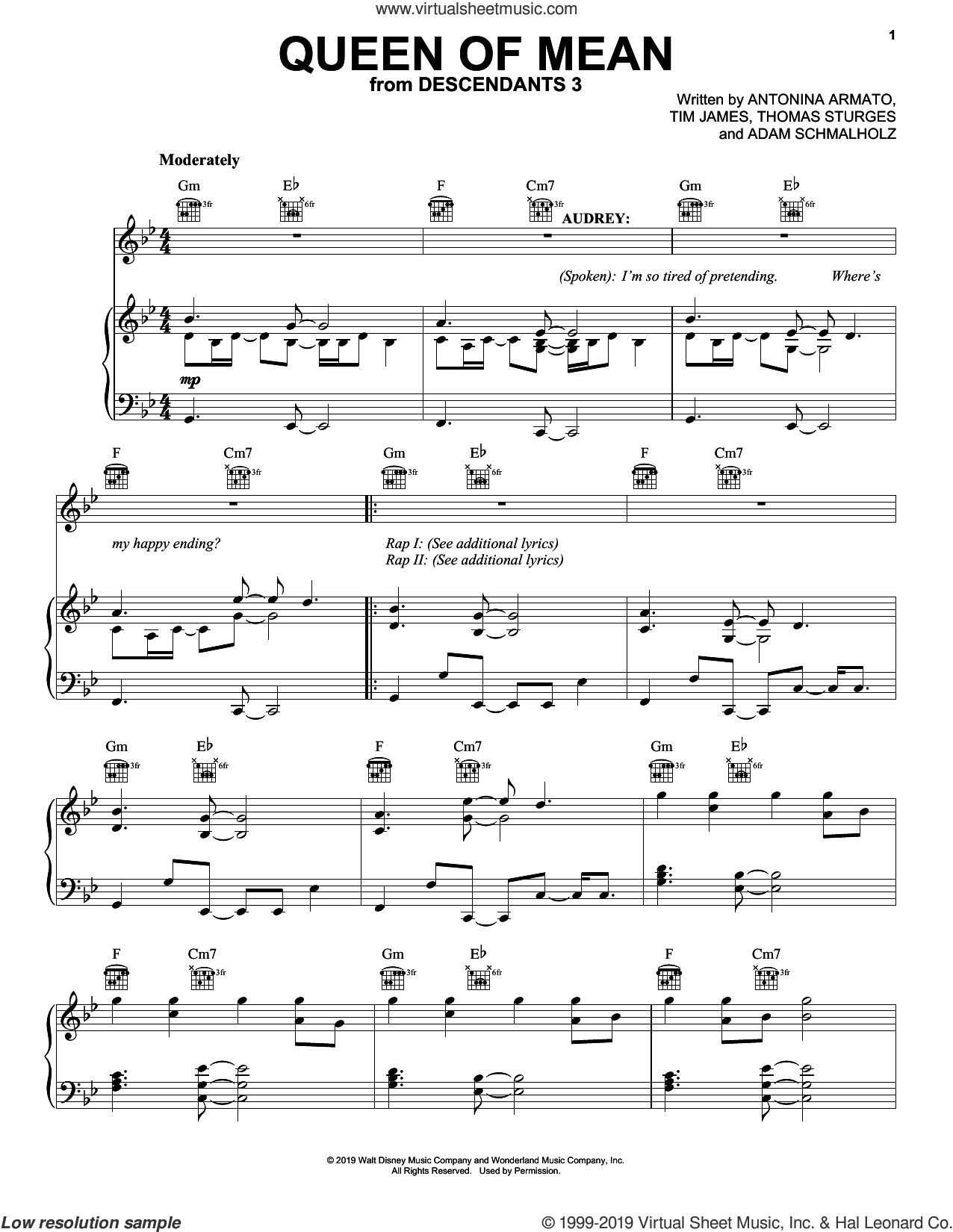 Queen Of Mean (from Disney's Descendants 3) sheet music for voice, piano or guitar by Sarah Jeffery, Adam Schmalholz, Antonina Armato, Thomas Sturges and Tim James, intermediate skill level