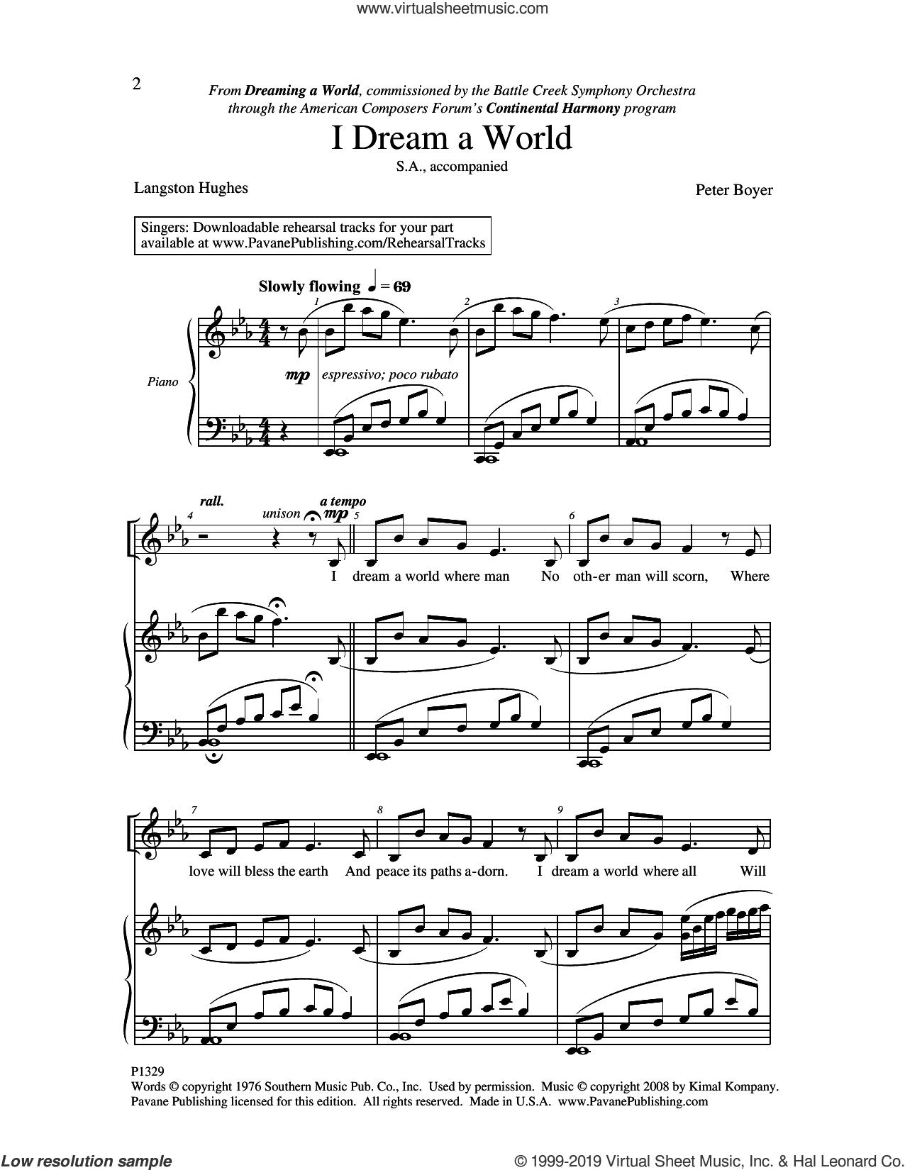 I Dream A World sheet music for choir (2-Part) by Peter Boyer, intermediate duet