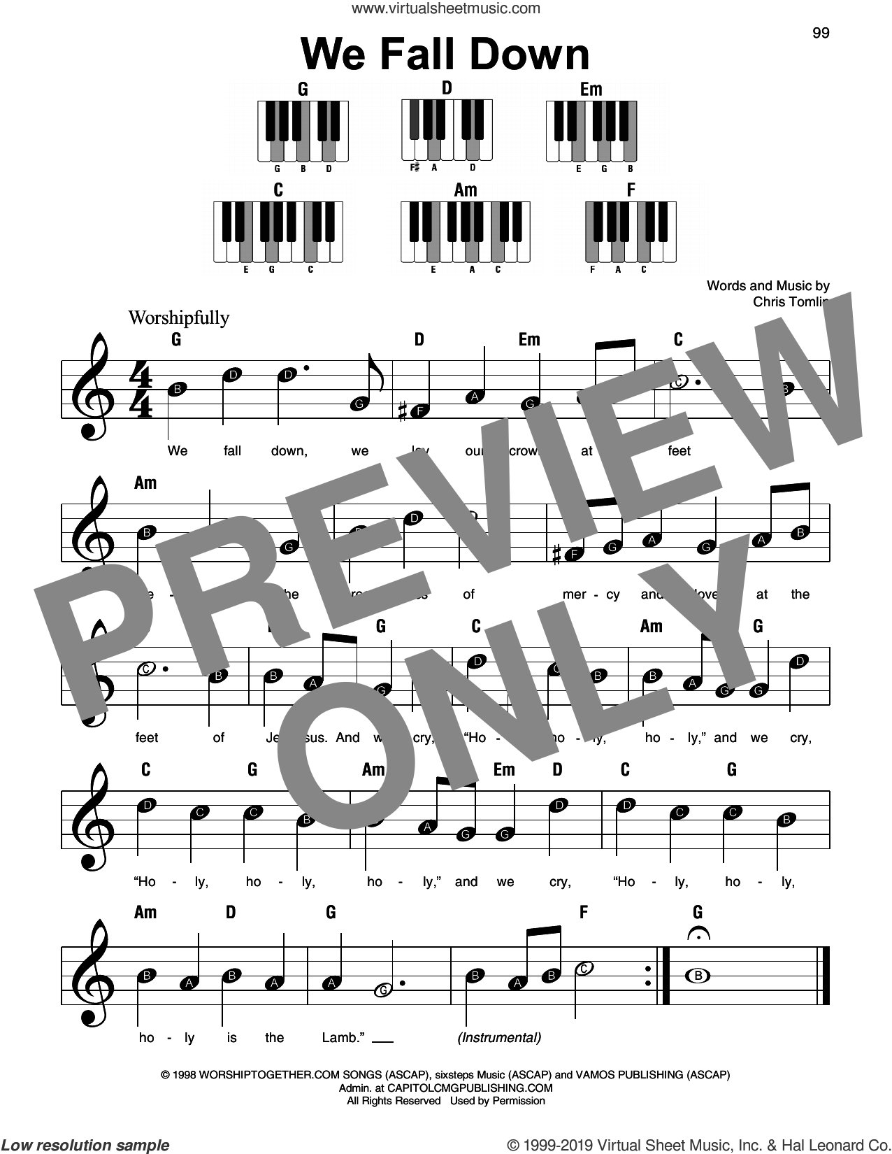 We Fall Down sheet music for piano solo by Chris Tomlin, Kutless and Passion, beginner skill level