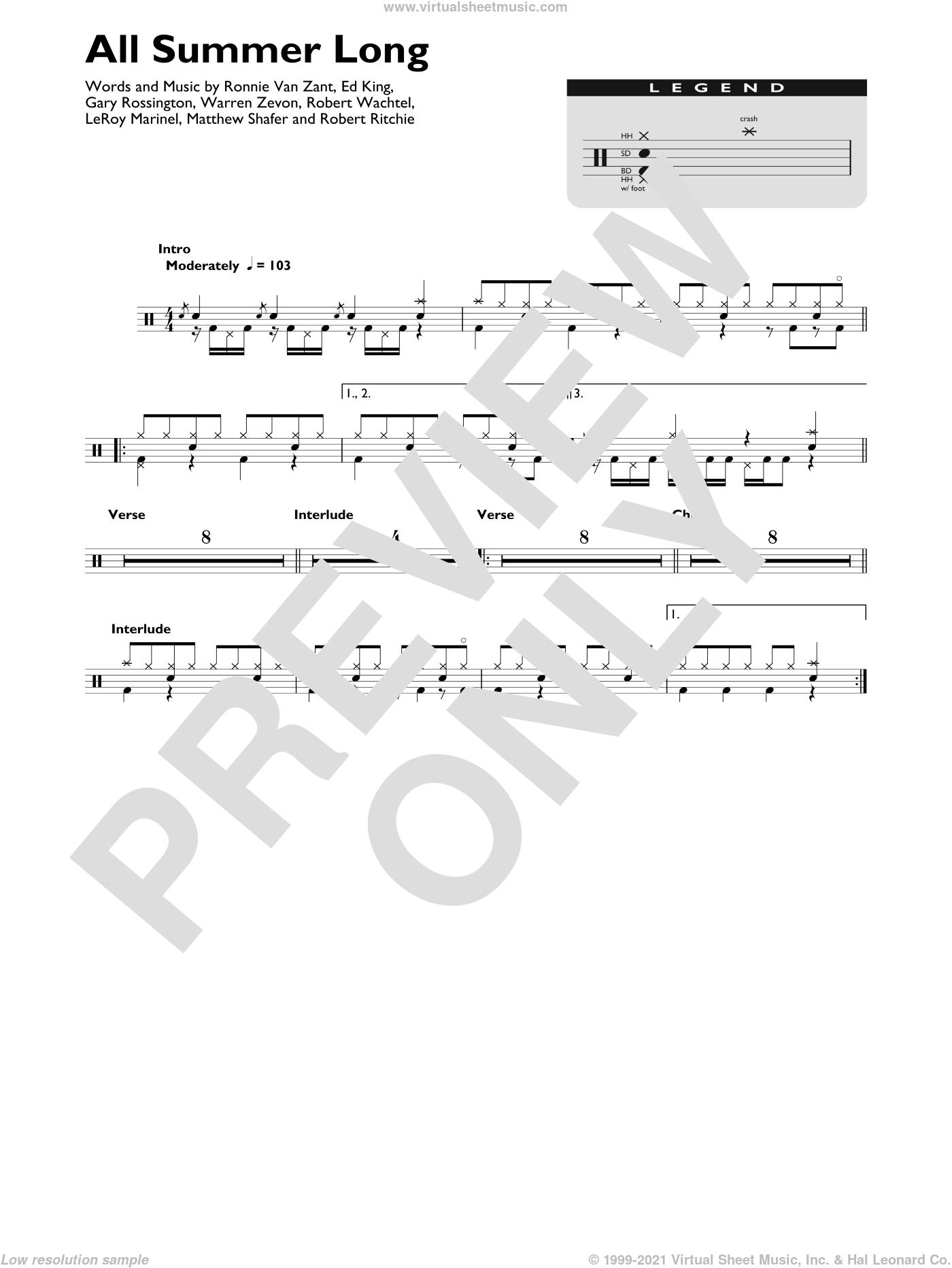All Summer Long sheet music for drums (percussions) by Kid Rock, Edward King, Gary Rossington, KeRoy Marinel, Matthew Shafer, Robert Ritchie, Robert Wachtel, Ronnie Van Zant and Warren Zevon, intermediate skill level