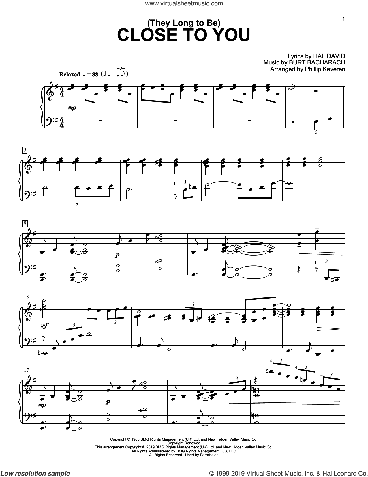(They Long To Be) Close To You (arr. Phillip Keveren) sheet music for piano solo by Carpenters, Phillip Keveren, Burt Bacharach and Hal David, intermediate skill level