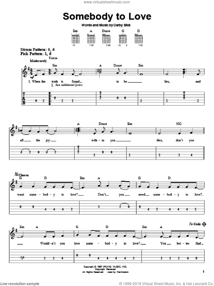 Somebody To Love sheet music for guitar solo (chords) by Jefferson Airplane. Score Image Preview.