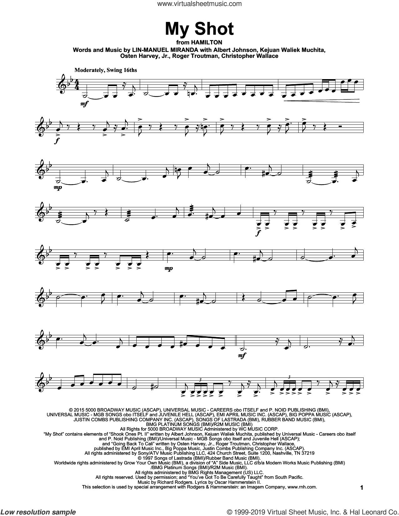 My Shot (from Hamilton) sheet music for violin solo by Lin-Manuel Miranda, Albert Johnson, Christopher Wallace, Kejuan Waliek Muchita, Osten Harvey, Jr. and Roger Troutman, intermediate skill level