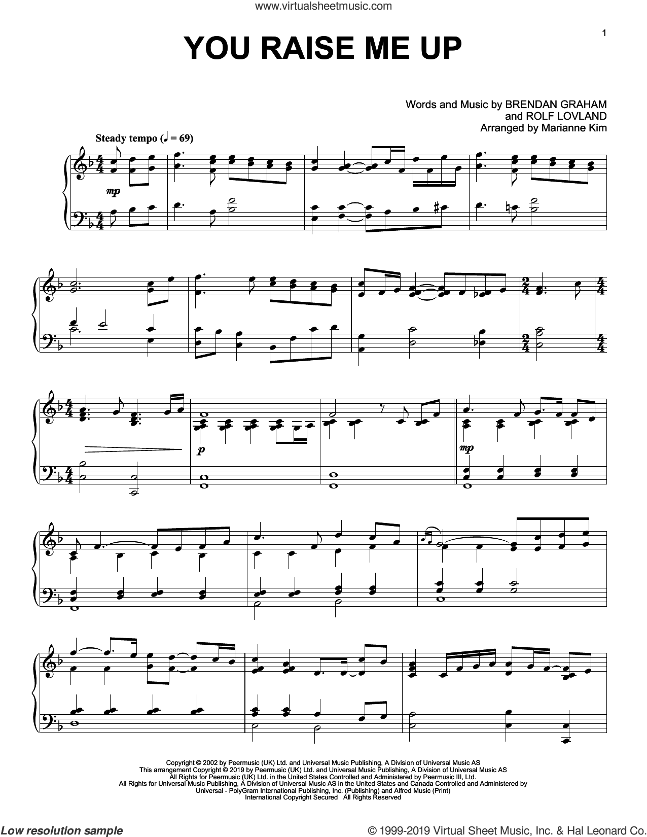 You Raise Me Up (arr. Marianne Kim) sheet music for piano solo by Josh Groban, Marianne Kim, Brendan Graham and Rolf Lovland, wedding score, intermediate skill level