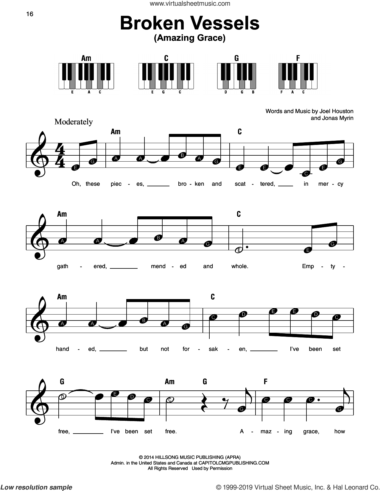 Broken Vessels (Amazing Grace) sheet music for piano solo by Hillsong Worship, Joel Houston and Jonas Myrin, beginner skill level
