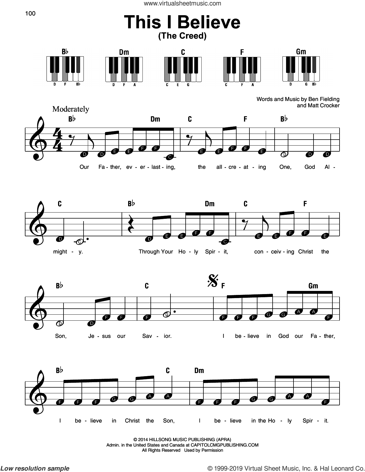 This I Believe (The Creed) sheet music for piano solo by Hillsong Worship, Ben Fielding and Matt Crocker, beginner skill level