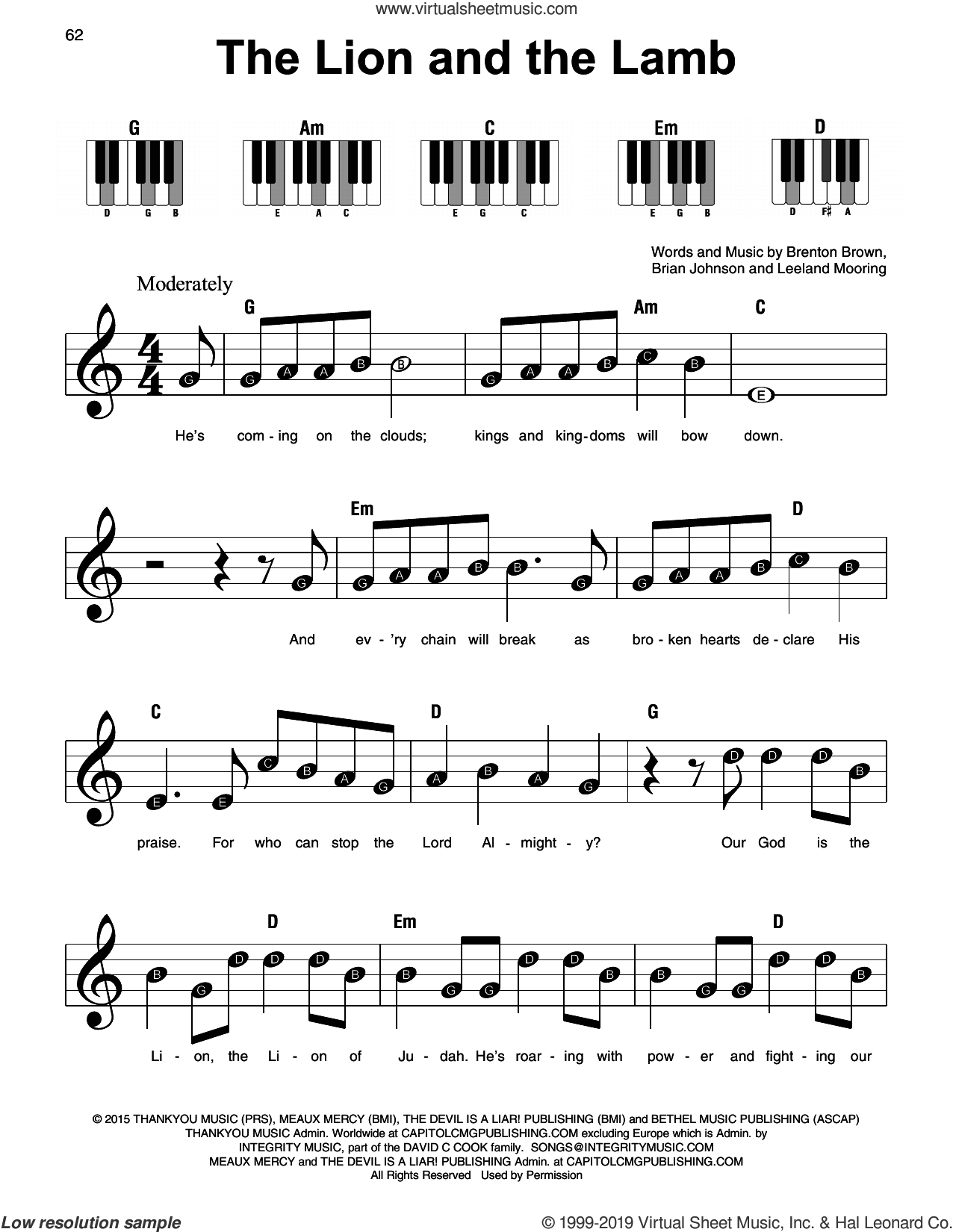 The Lion And The Lamb sheet music for piano solo by Big Daddy Weave, Brenton Brown, Brian Johnson and Leeland Mooring, beginner skill level