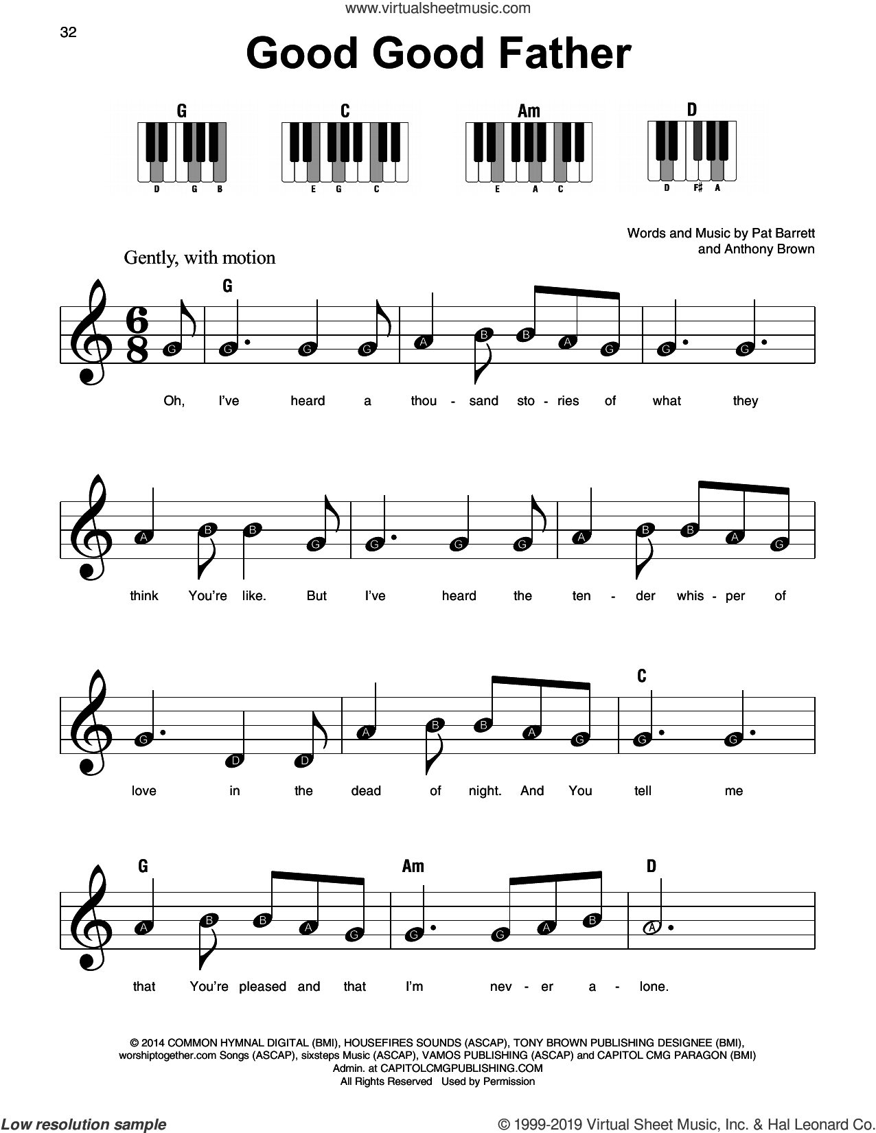 Good Good Father sheet music for piano solo by Chris Tomlin, Anthony Brown and Pat Barrett, beginner skill level