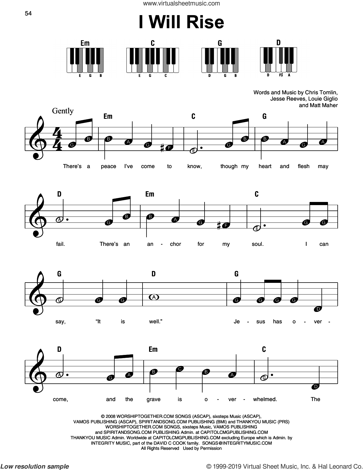 I Will Rise sheet music for piano solo by Chris Tomlin, Jesse Reeves, Louis Giglio and Matt Maher, beginner skill level