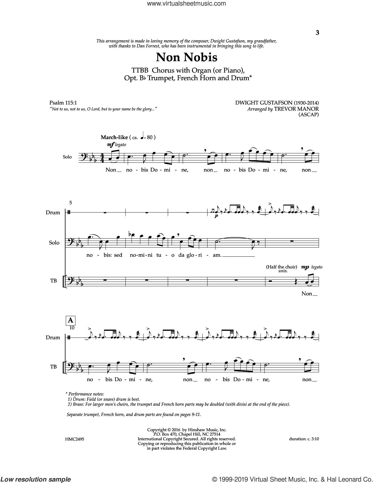 Non Nobis (arr. Trevor Manor) sheet music for choir (TTBB: tenor, bass) by Dwight Gustafson and Trevor Manor, intermediate skill level