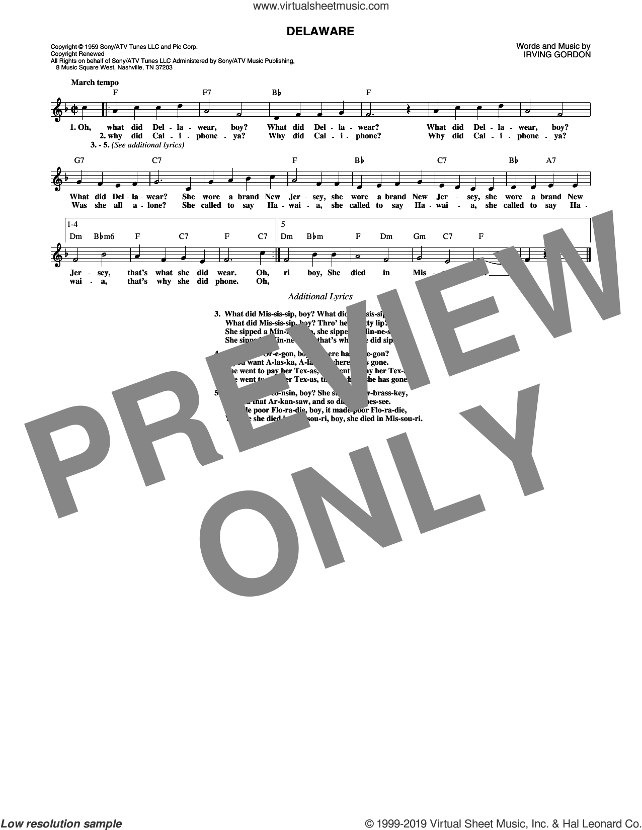 Delaware sheet music for voice and other instruments (fake book) by Perry Como and Irving Gordon, intermediate skill level