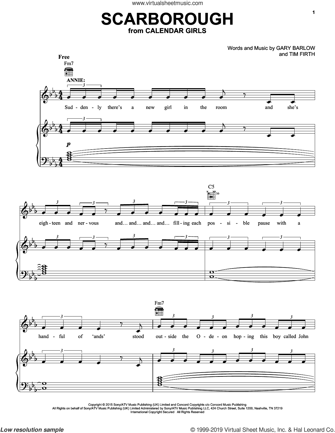 Scarborough (from Calendar Girls the Musical) sheet music for voice, piano or guitar by Gary Barlow, Gary Barlow and Tim Firth and Tim Firth, intermediate skill level