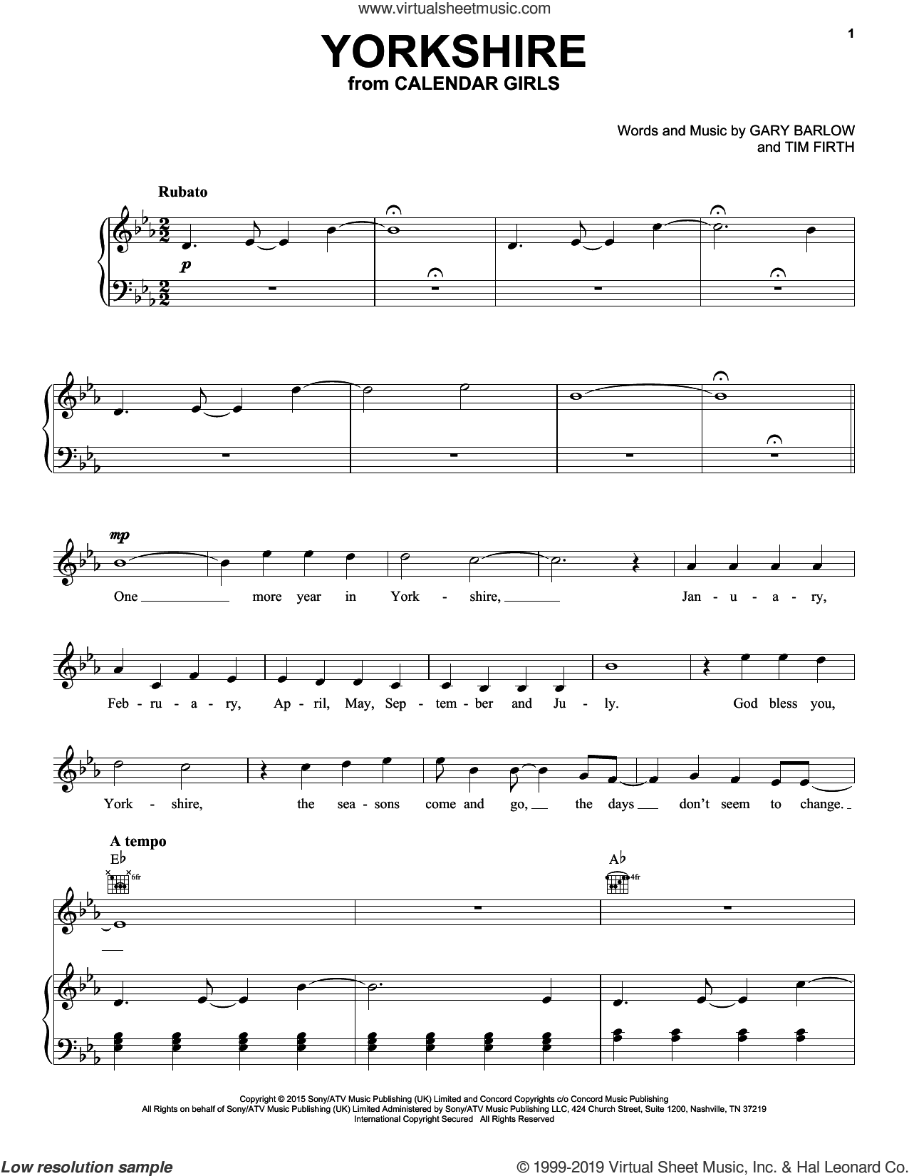 Yorkshire (from Calendar Girls the Musical) sheet music for voice, piano or guitar by Gary Barlow, Gary Barlow and Tim Firth and Tim Firth, intermediate skill level
