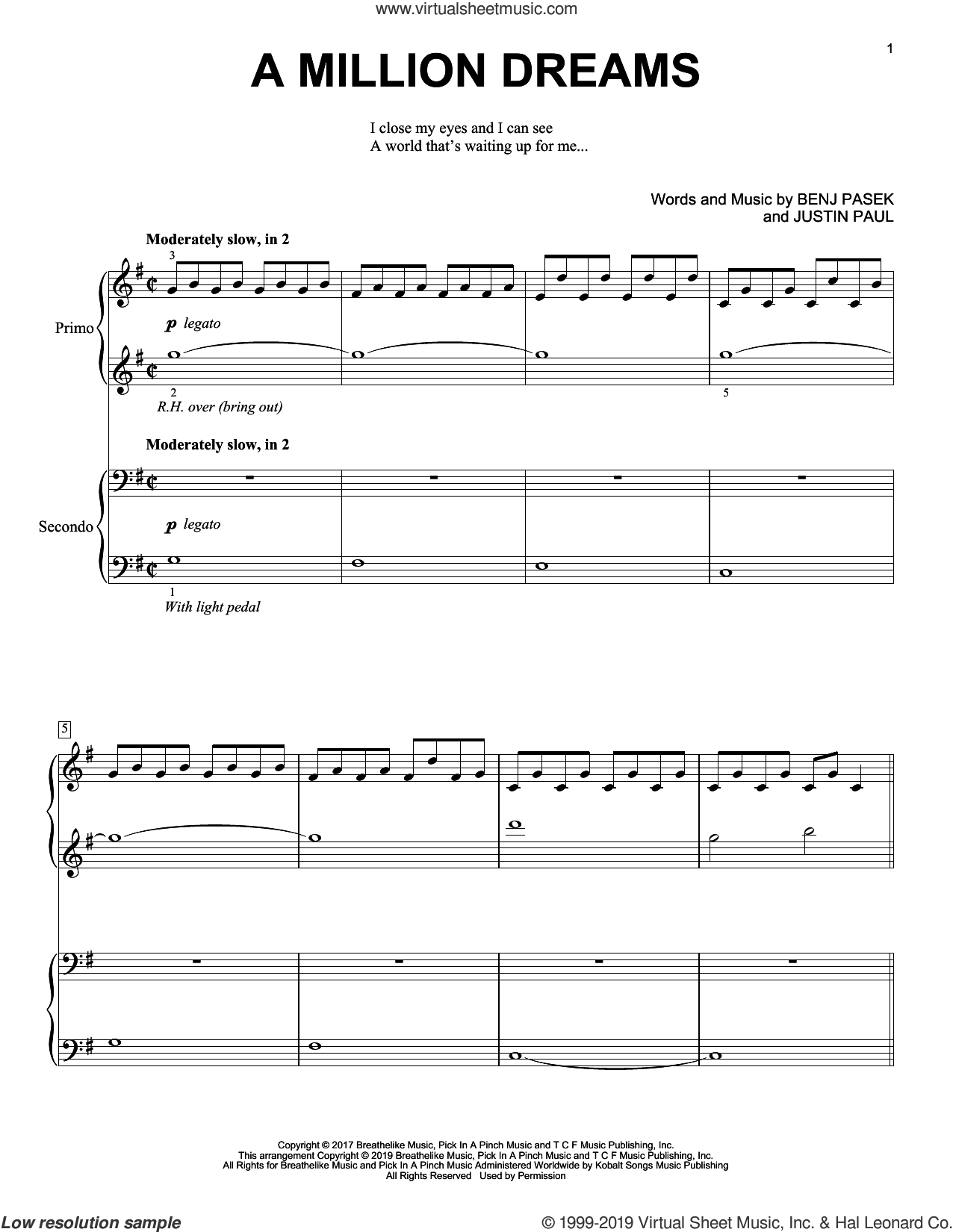 A Million Dreams (from The Greatest Showman) sheet music for piano four hands by Benj Pasek, Justin Paul and Pasek & Paul, intermediate skill level
