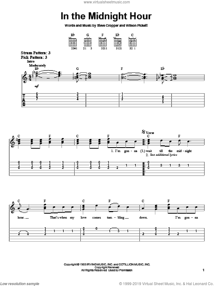 In The Midnight Hour sheet music for guitar solo (chords) by Wilson Pickett, easy guitar (chords). Score Image Preview.