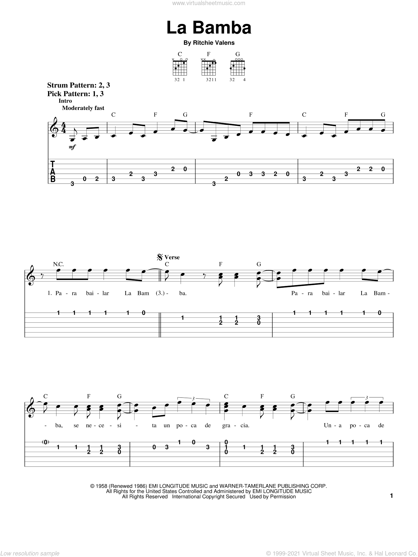 La Bamba sheet music for guitar solo (chords) by Ritchie Valens and Los Lobos, easy guitar (chords)