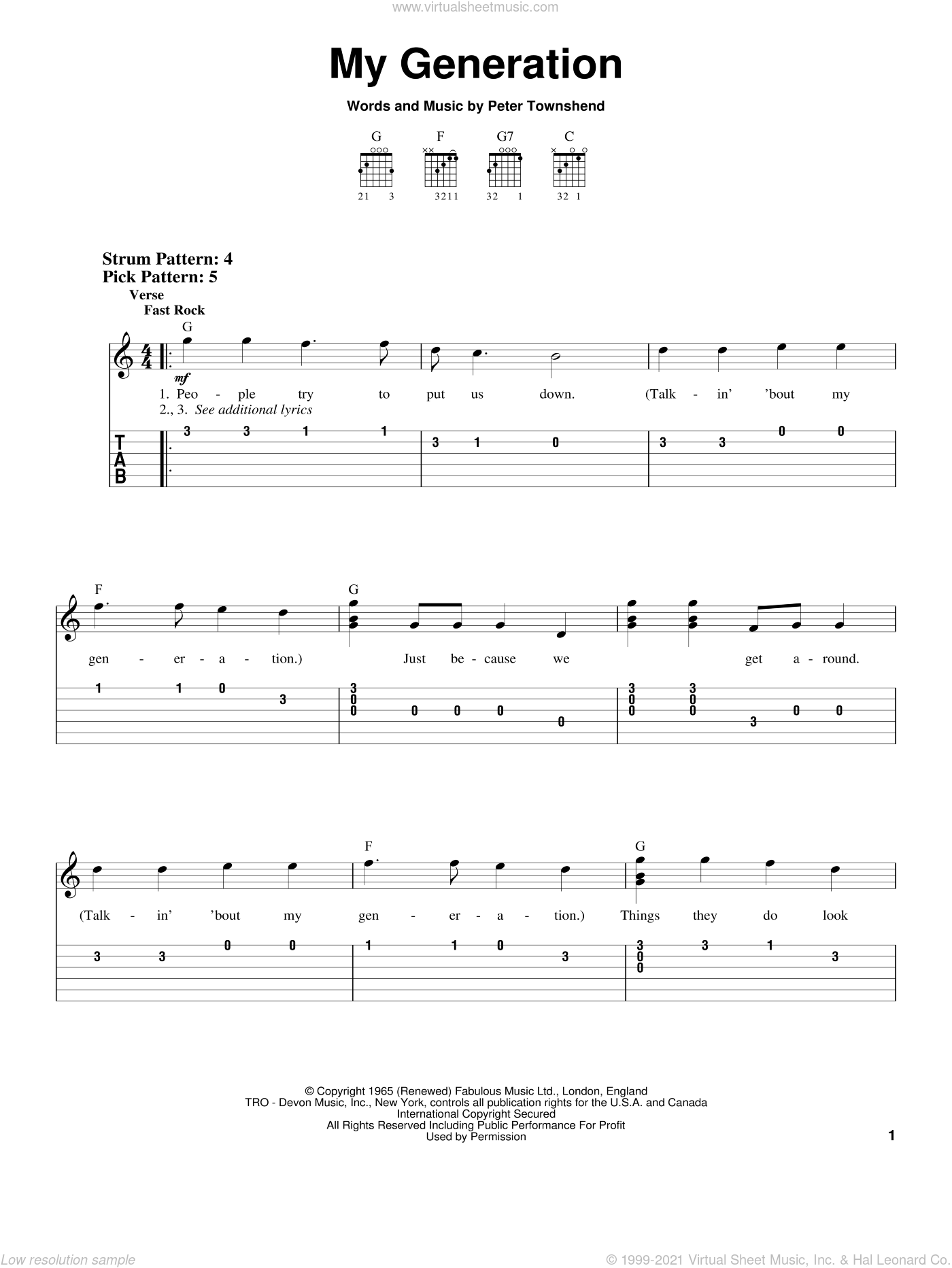 My Generation sheet music for guitar solo (chords) by The Who and Pete Townshend, easy guitar (chords)