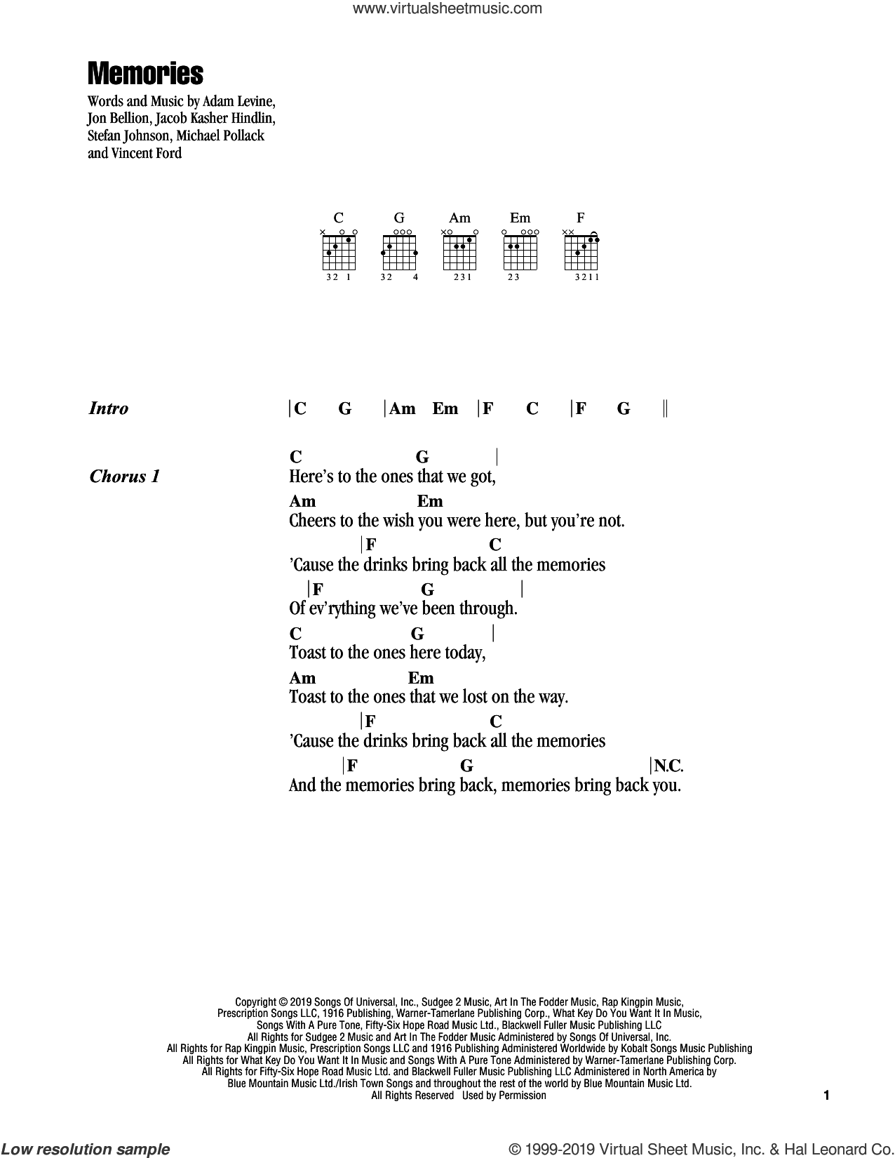 Memories sheet music for guitar (chords) by Maroon 5, Adam Levine, Jacob Kasher Hindlin, Jon Bellion, Michael Pollack, Stefan Johnson and Vincent Ford, intermediate skill level