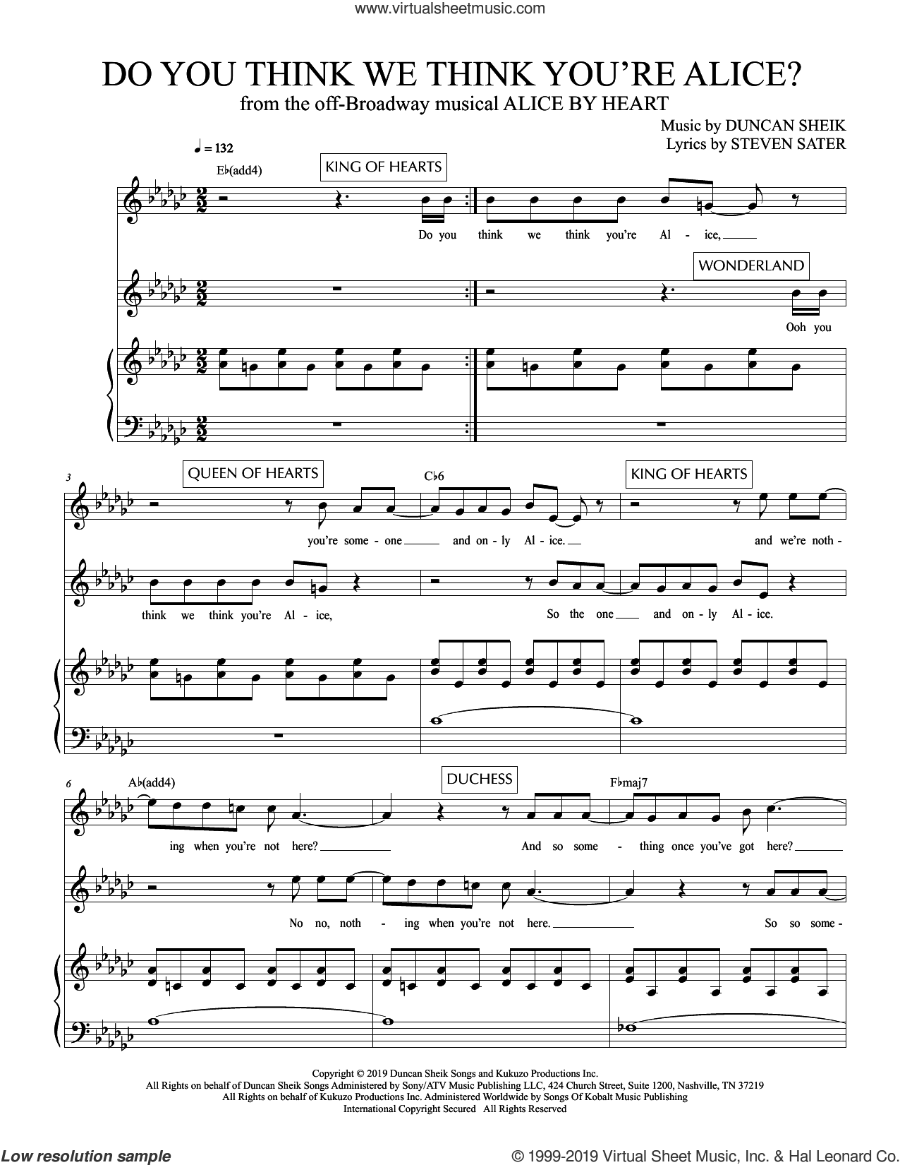 Do You Think We Think You're Alice? (from Alice By Heart) sheet music for voice and piano by Duncan Sheik, Duncan Sheik and Steven Sater and Steven Sater, intermediate skill level