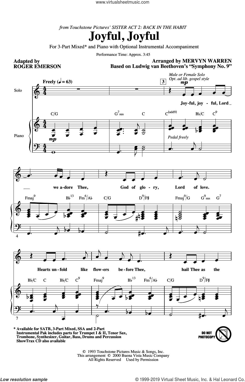 Joyful, Joyful (from Sister Act 2) (arr. Roger Emerson) sheet music for choir (3-Part Mixed) by Mervyn Warren, Roger Emerson and Ludwig van Beethoven, intermediate skill level