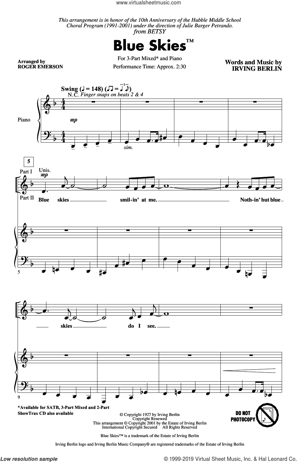 Blue Skies (arr. Roger Emerson) sheet music for choir (3-Part Mixed) by Irving Berlin and Roger Emerson, intermediate skill level