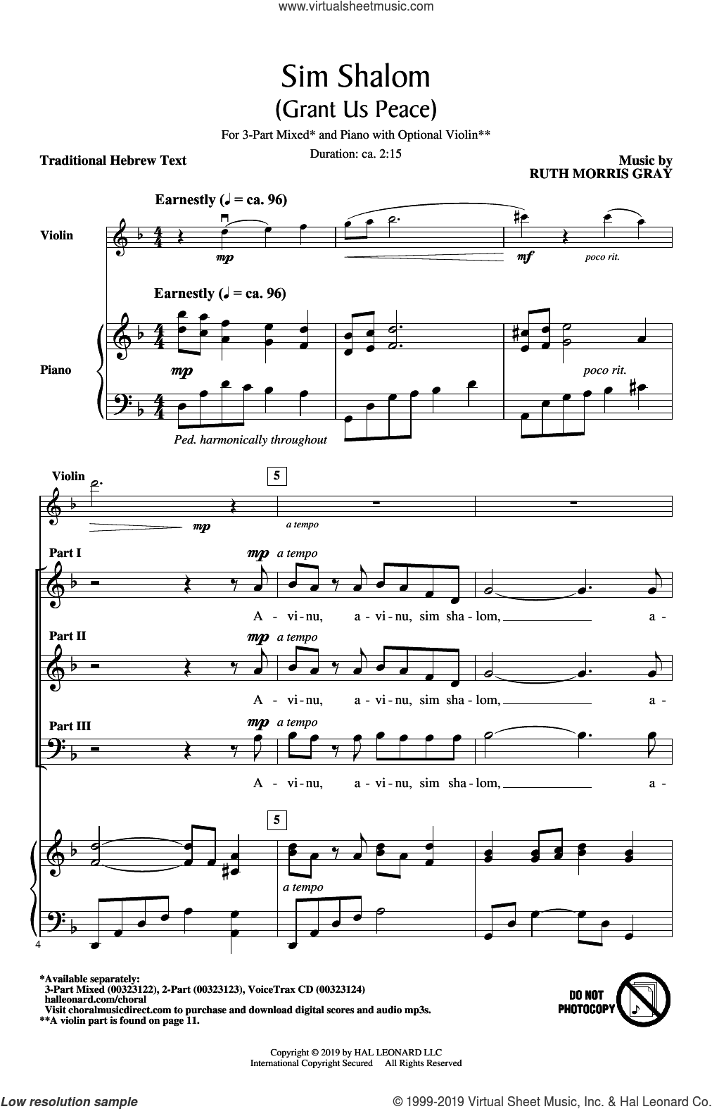 Sim Shalom (Grant Us Peace) sheet music for choir (3-Part Mixed) by Ruth Morris Gray and Traditional Hebrew Text, intermediate skill level
