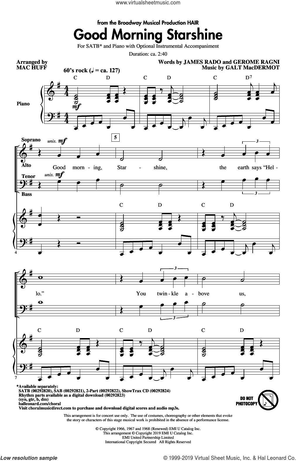 Good Morning Starshine (from the musical Hair) (arr. Mac Huff) sheet music for choir (SATB: soprano, alto, tenor, bass) by Galt MacDermot, Mac Huff, Gerome Ragni and James Rado, intermediate skill level