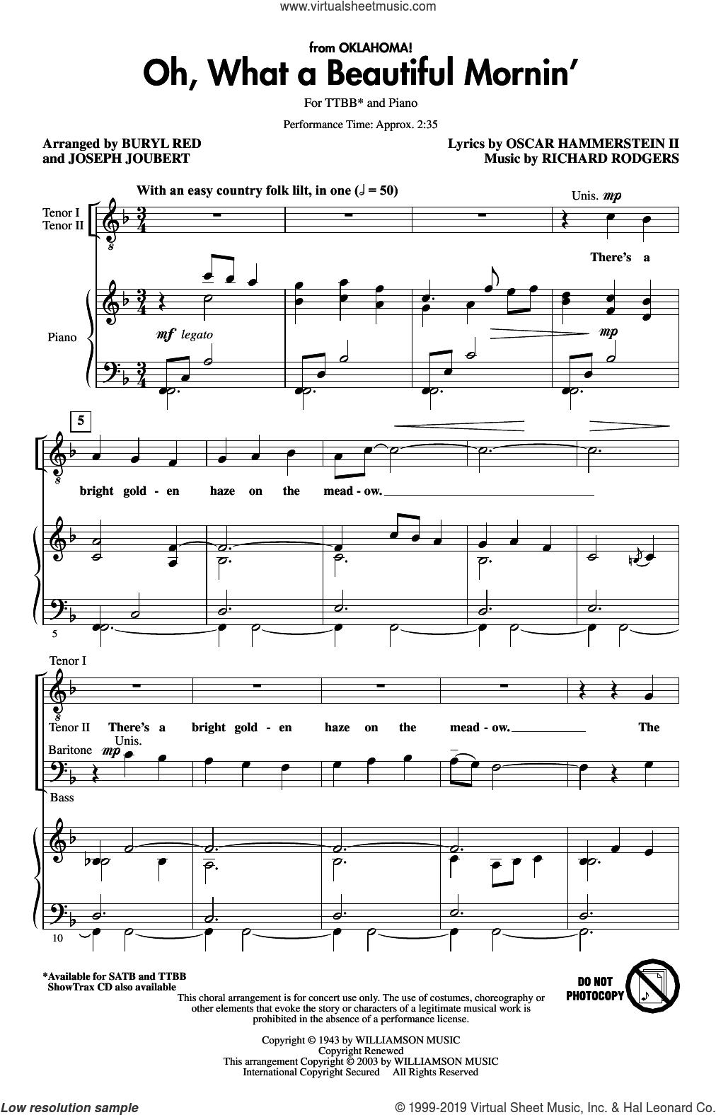 Oh, What A Beautiful Mornin' (from Oklahoma) (arr. Buryl Red and Joseph Joubert) sheet music for choir (TTBB: tenor, bass) by Rodgers & Hammerstein, Buryl Red, Joseph Joubert, Oscar II Hammerstein and Richard Rodgers, intermediate skill level