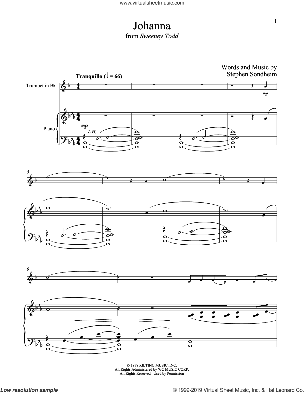 Johanna (from Sweeney Todd) sheet music for trumpet and piano by Stephen Sondheim, intermediate skill level