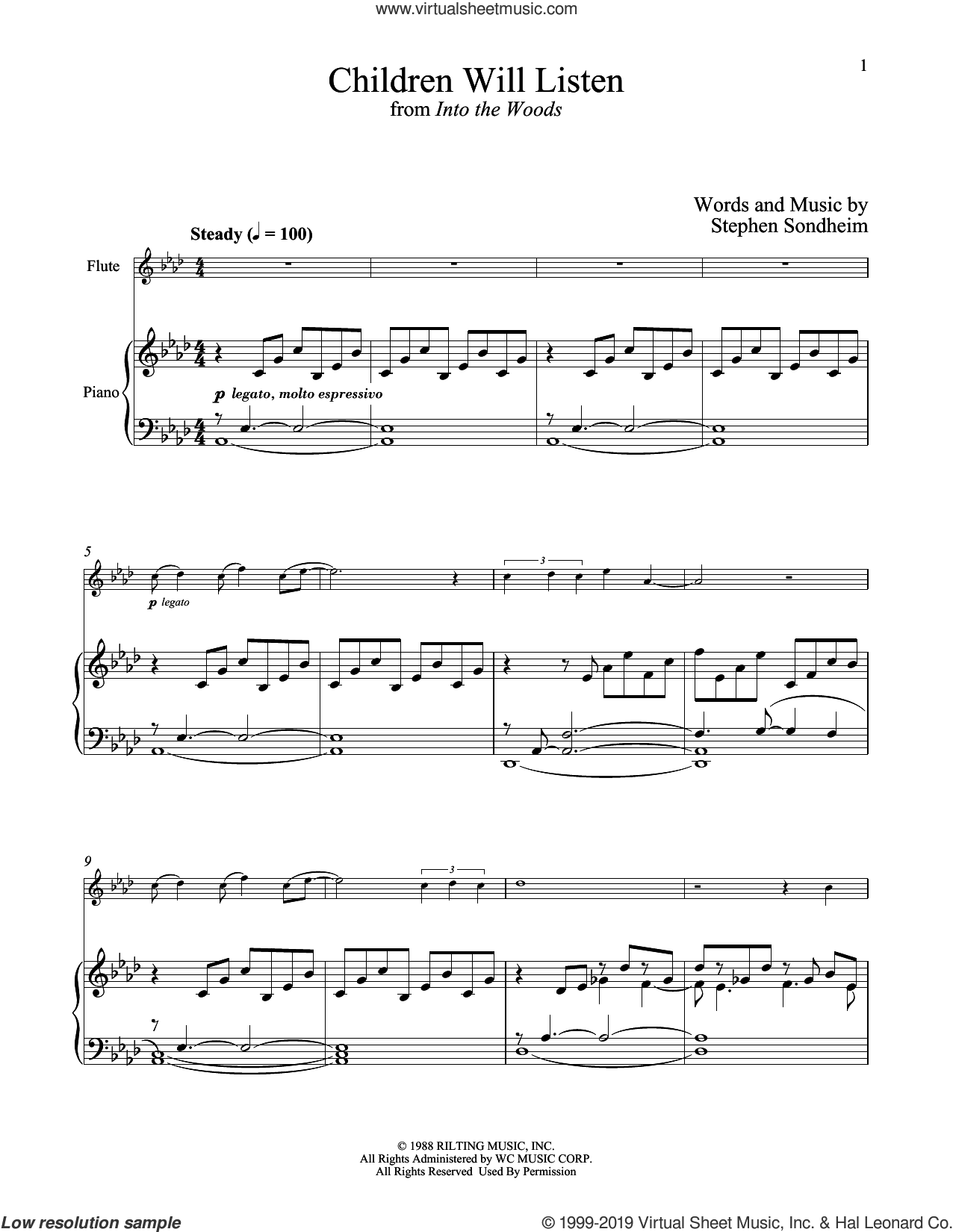 Children Will Listen (from Into The Woods) sheet music for flute and piano by Stephen Sondheim, intermediate skill level