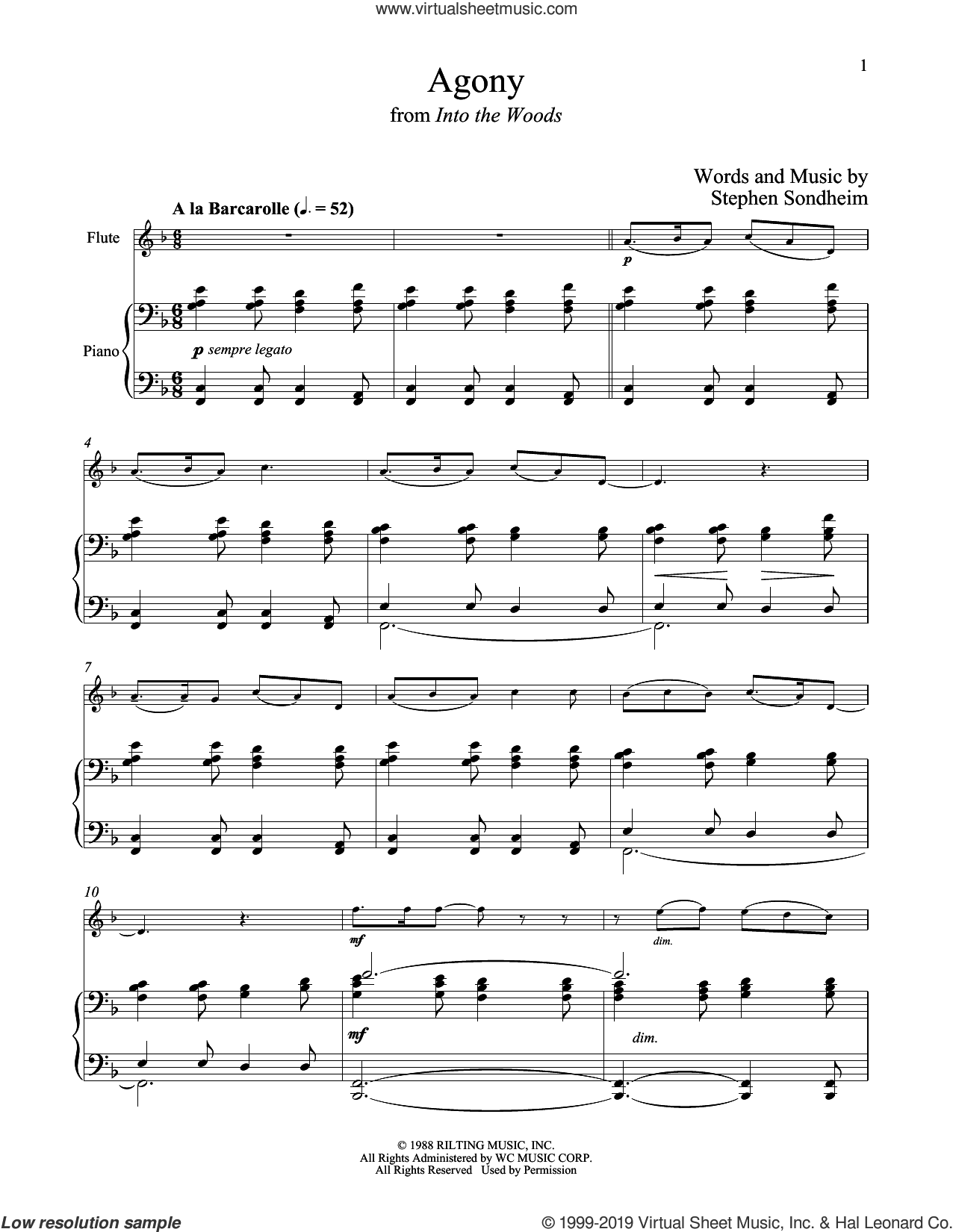 Agony (from Into The Woods) sheet music for flute and piano by Stephen Sondheim, intermediate skill level