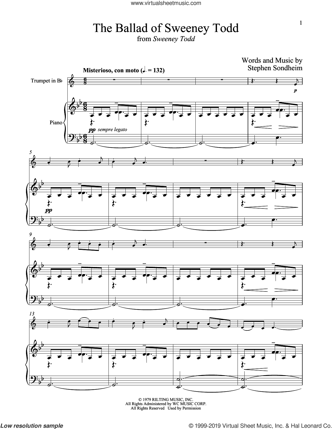 The Ballad Of Sweeney Todd (from Sweeney Todd) sheet music for trumpet and piano by Stephen Sondheim, intermediate skill level