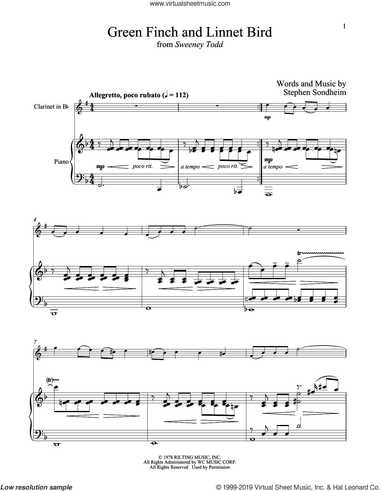Sondheim Green Finch And Linnet Bird From Sweeney Todd Sheet Music For Clarinet And Piano