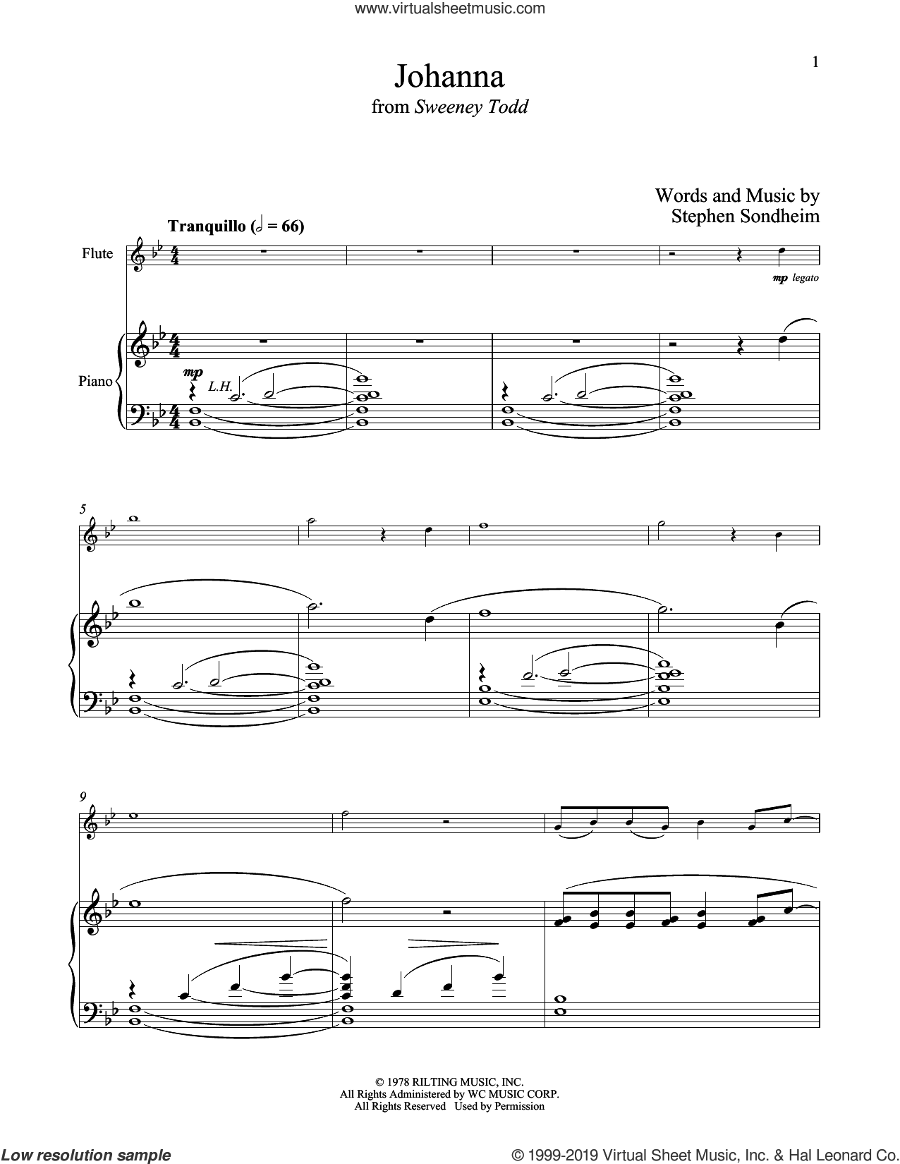 Johanna (from Sweeney Todd) sheet music for flute and piano by Stephen Sondheim, intermediate skill level