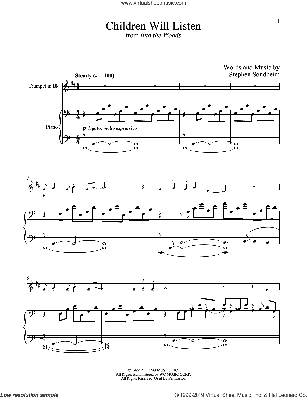 Children Will Listen (from Into The Woods) sheet music for trumpet and piano by Stephen Sondheim, intermediate skill level