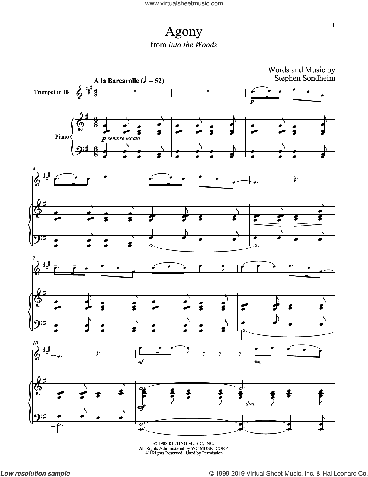 Agony (from Into The Woods) sheet music for trumpet and piano by Stephen Sondheim, intermediate skill level