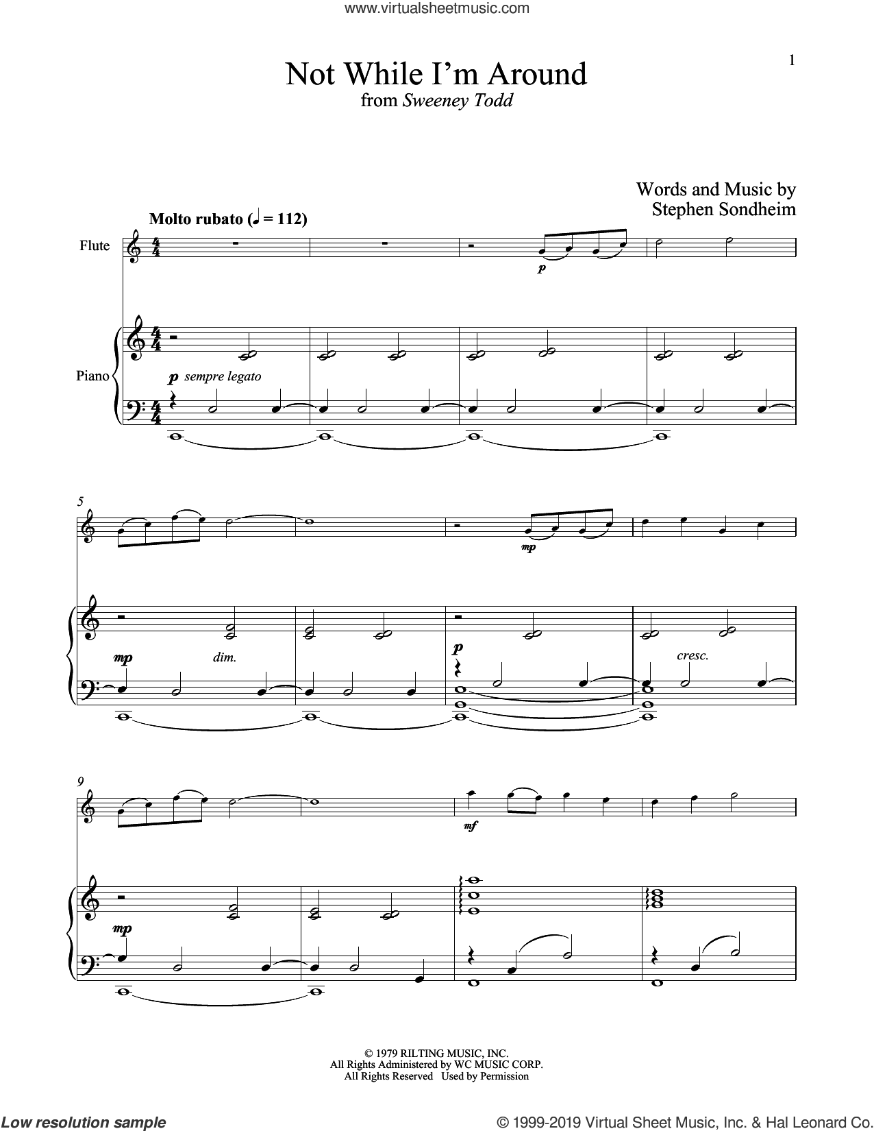 Not While I'm Around (from Sweeney Todd) sheet music for flute and piano by Stephen Sondheim, intermediate skill level