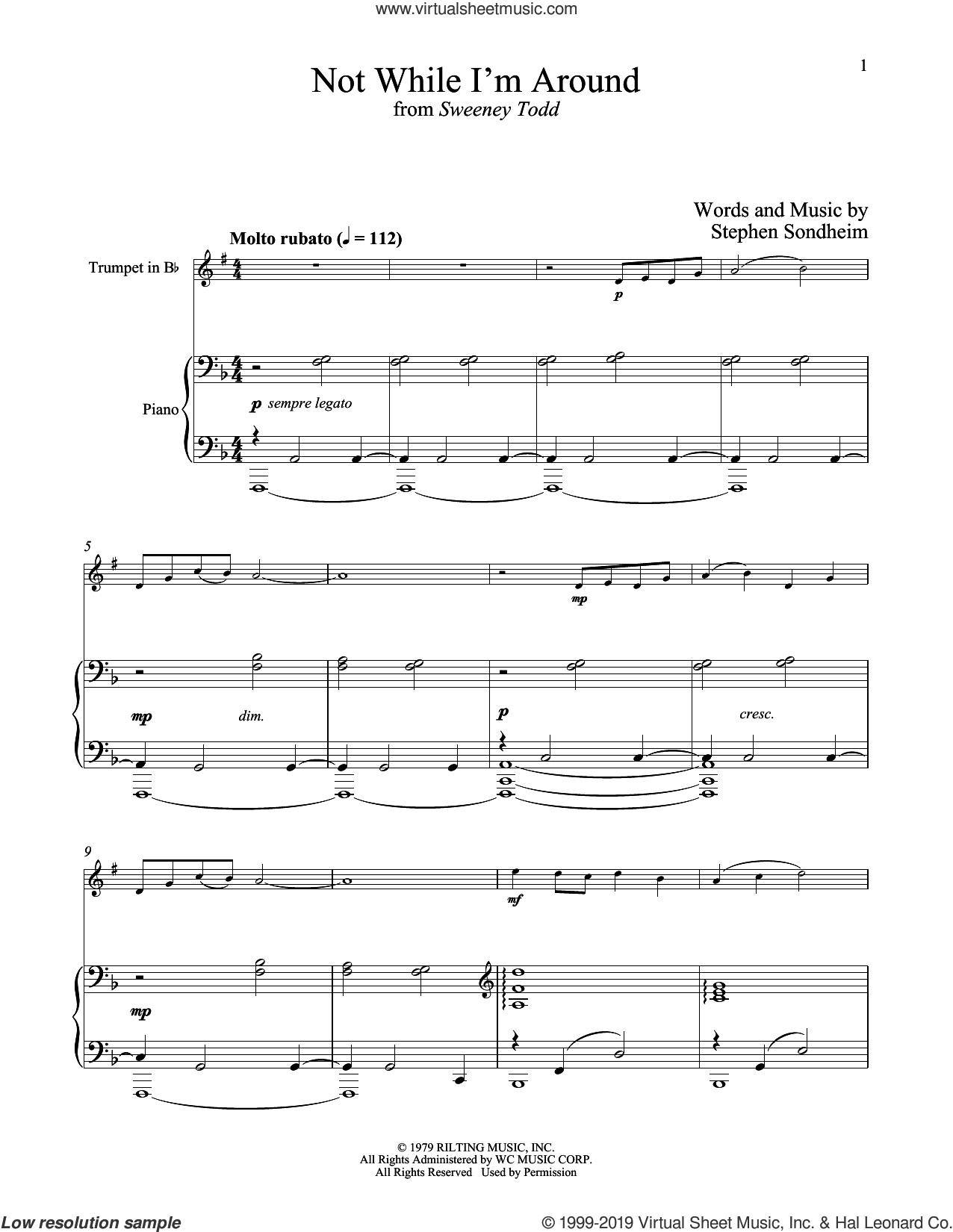 Not While I'm Around (from Sweeney Todd) sheet music for trumpet and piano by Stephen Sondheim, intermediate skill level