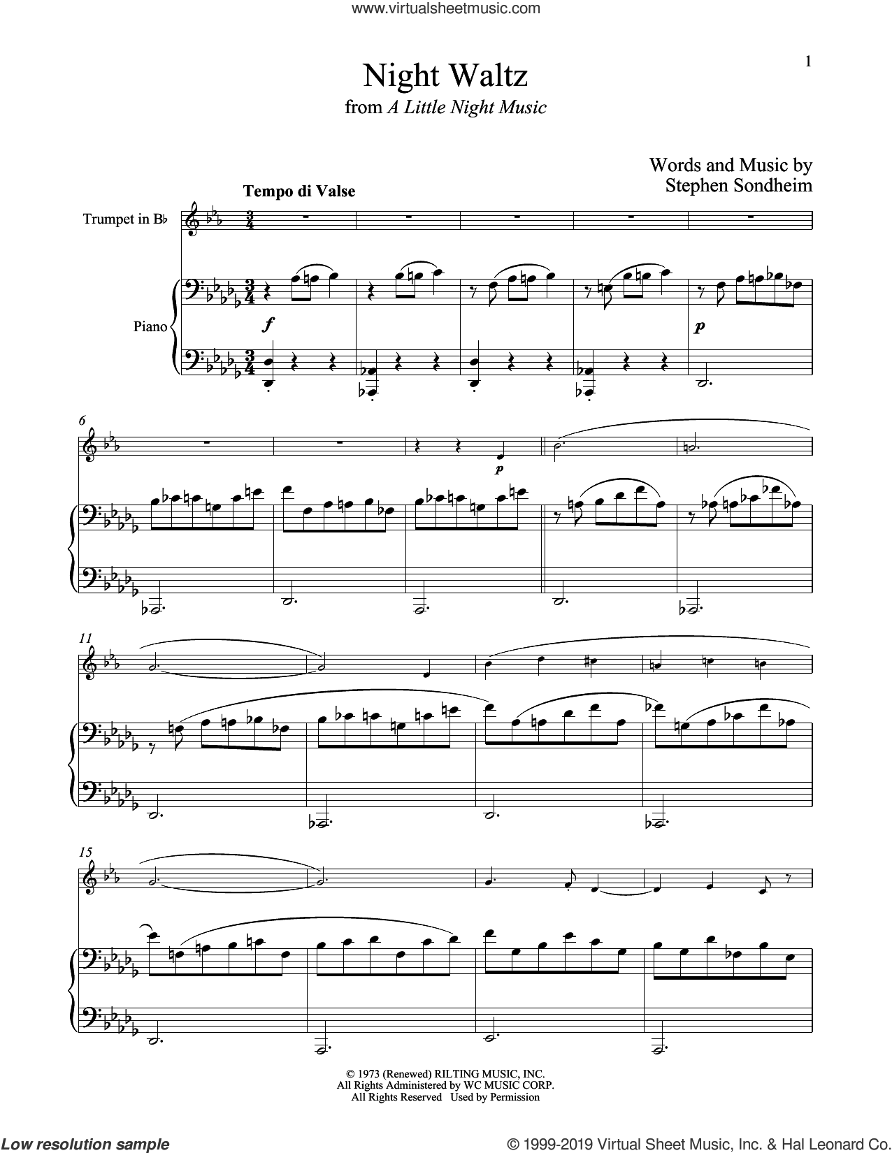 Night Waltz (from A Little Night Music) sheet music for trumpet and piano by Stephen Sondheim, intermediate skill level