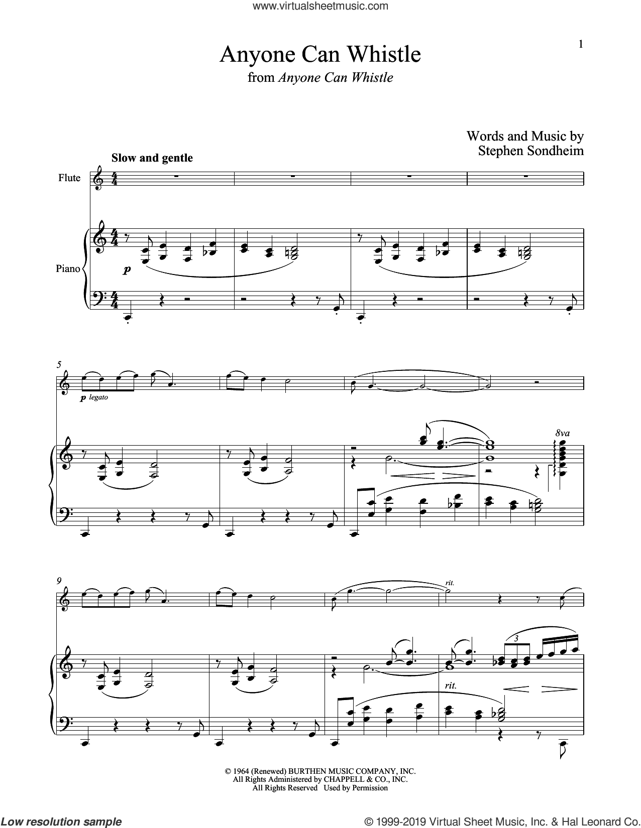Anyone Can Whistle (from Anyone Can Whistle) sheet music for flute and piano by Stephen Sondheim, intermediate skill level