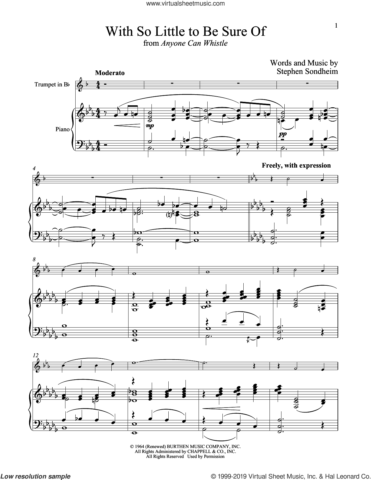 With So Little To Be Sure Of (from Anyone Can Whistle) sheet music for trumpet and piano by Stephen Sondheim, intermediate skill level