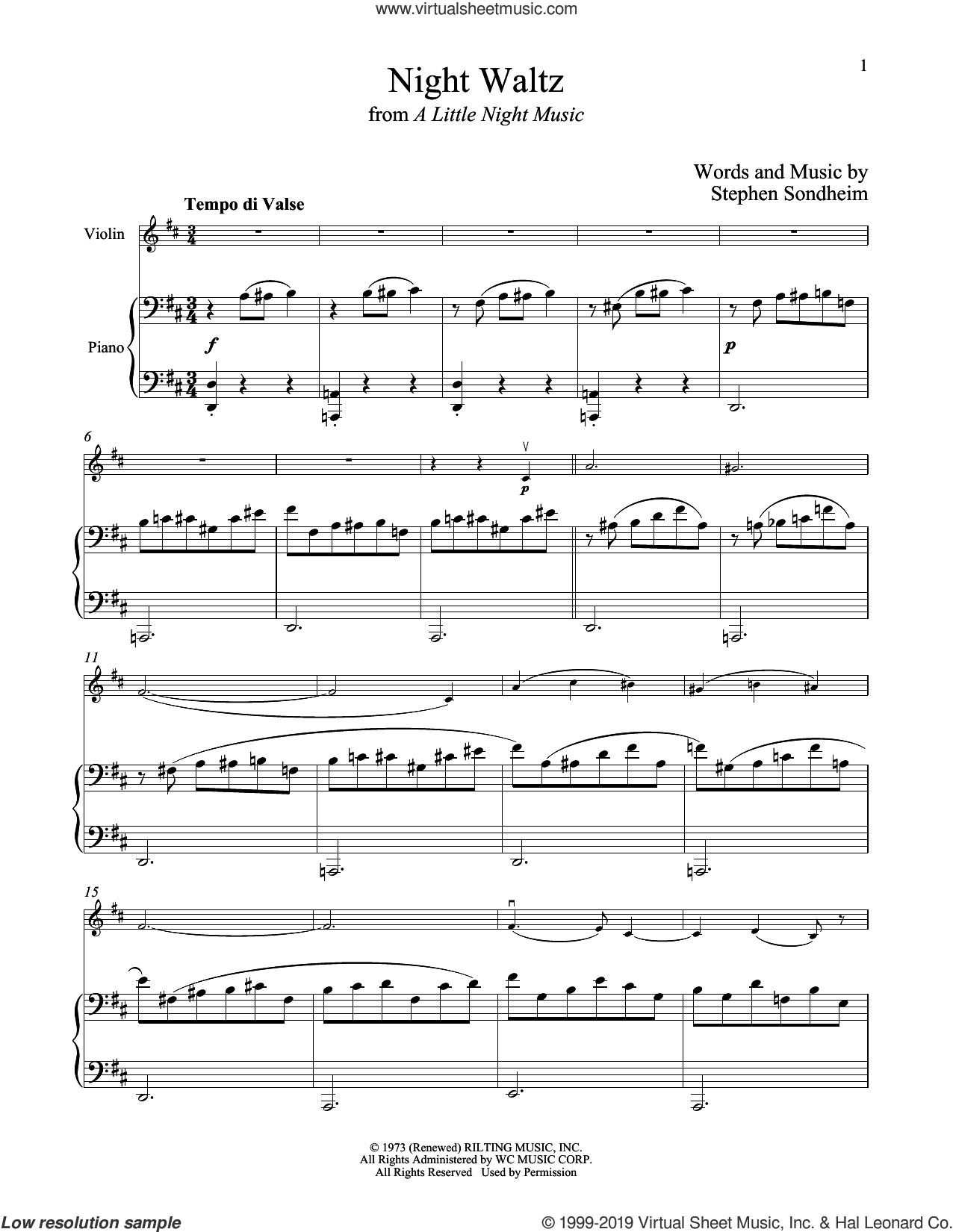 Night Waltz (from A Little Night Music) sheet music for violin and piano by Stephen Sondheim, intermediate skill level