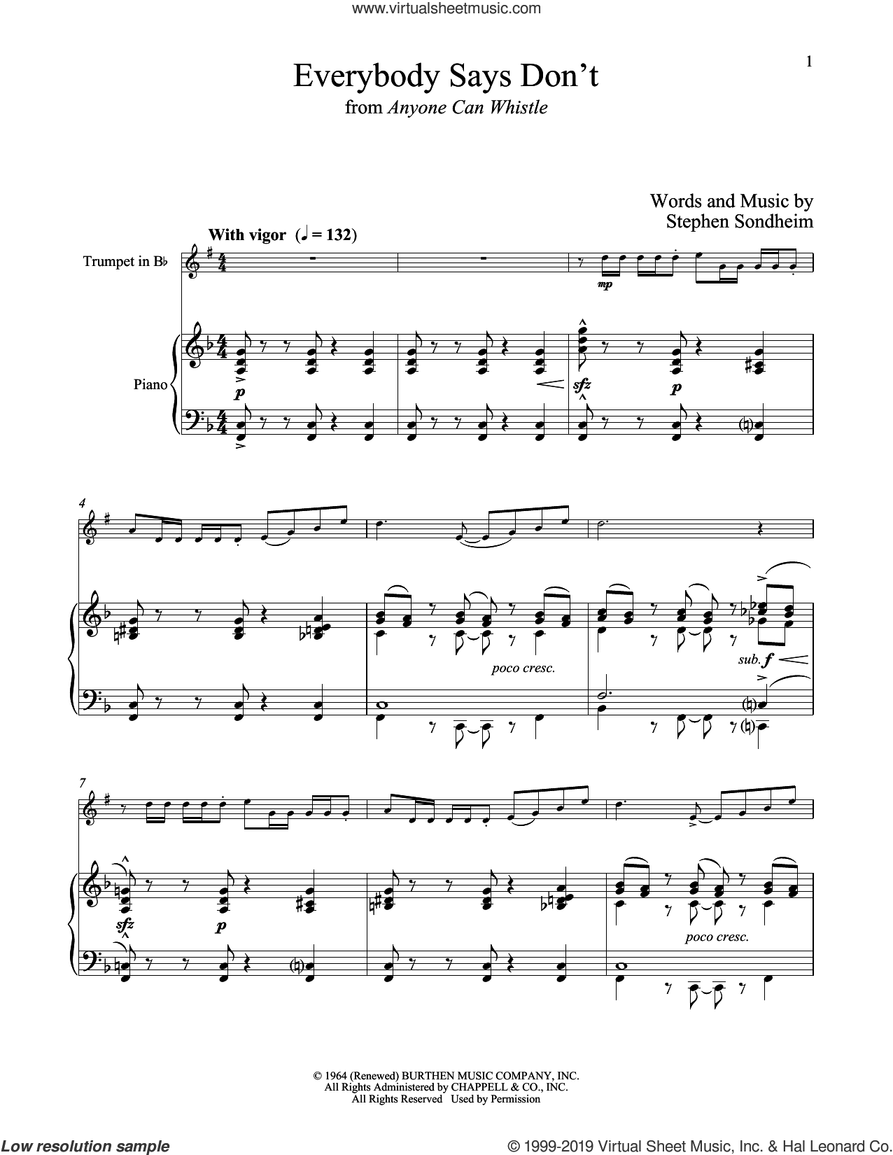 Everybody Says Don't (from Anyone Can Whistle) sheet music for trumpet and piano by Stephen Sondheim, intermediate skill level