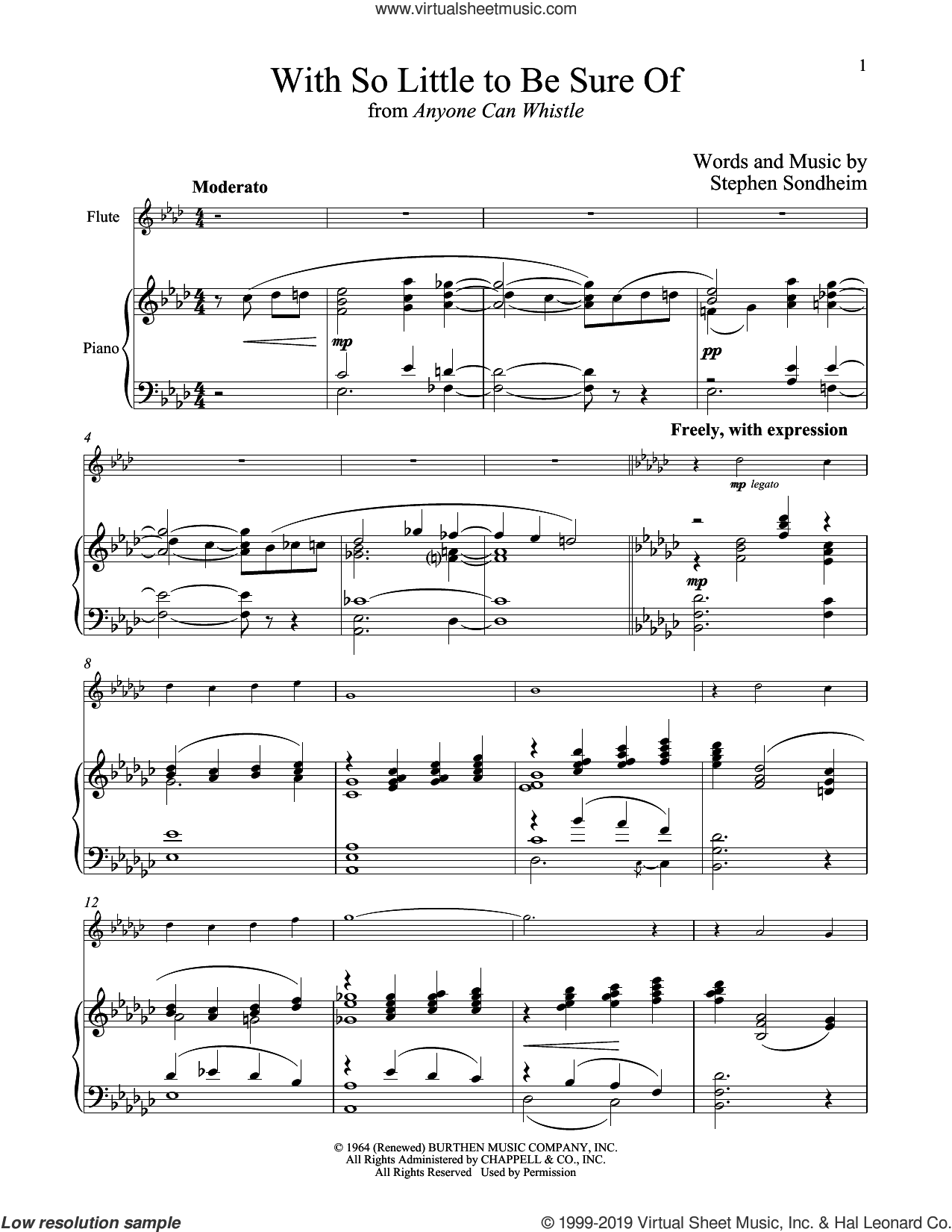 With So Little To Be Sure Of (from Anyone Can Whistle) sheet music for flute and piano by Stephen Sondheim, intermediate skill level