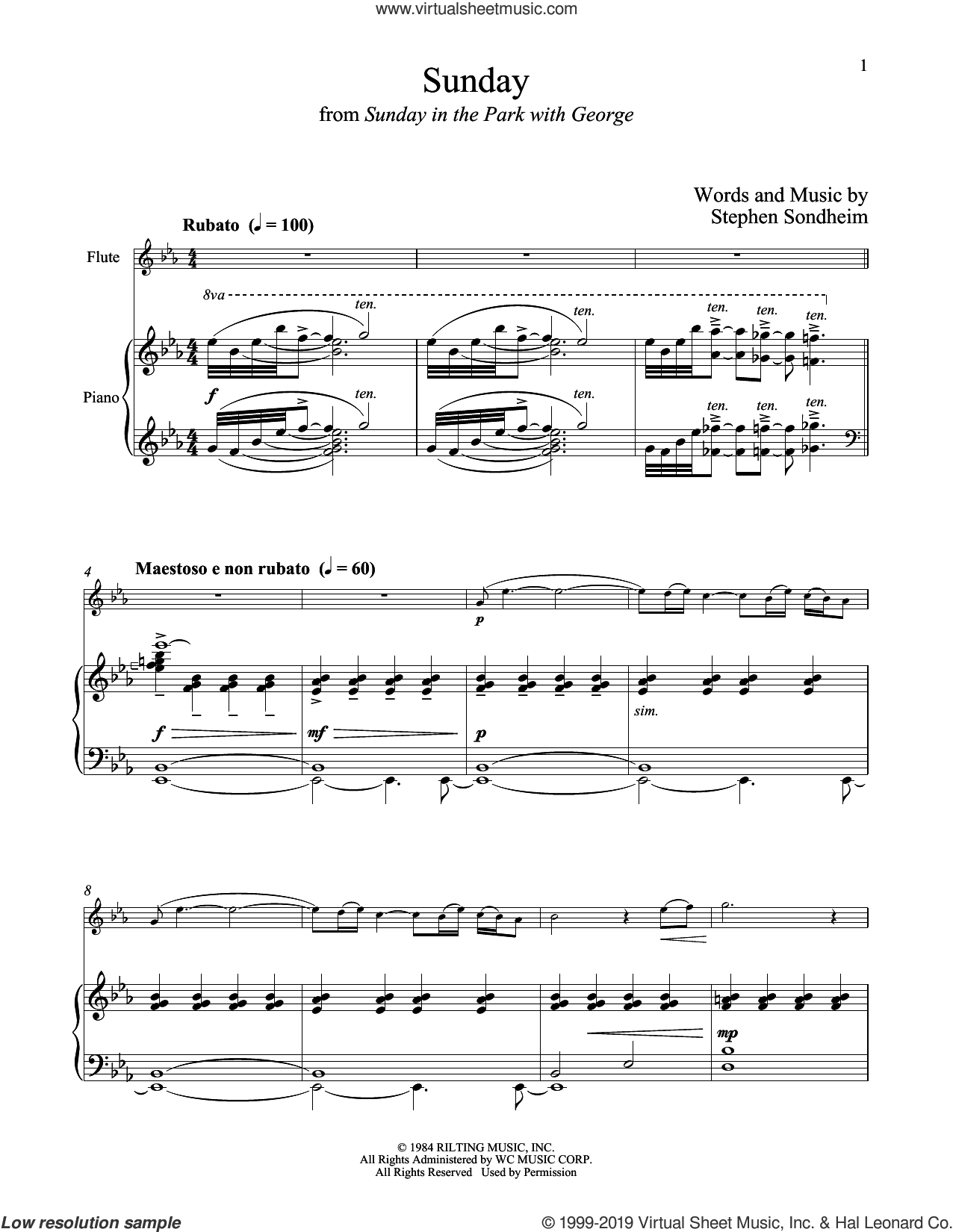 Sunday (from Sunday in the Park with George) sheet music for flute and piano by Stephen Sondheim, intermediate skill level
