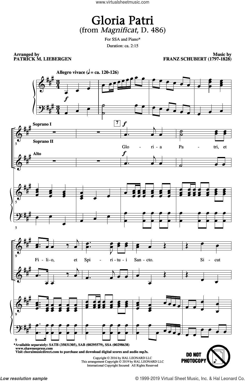 Gloria Patri (from Magnificat, D. 486) (arr. Patrick M. Liebergen) sheet music for choir (SSA: soprano, alto) by Franz Schubert and Patrick Liebergen, intermediate skill level