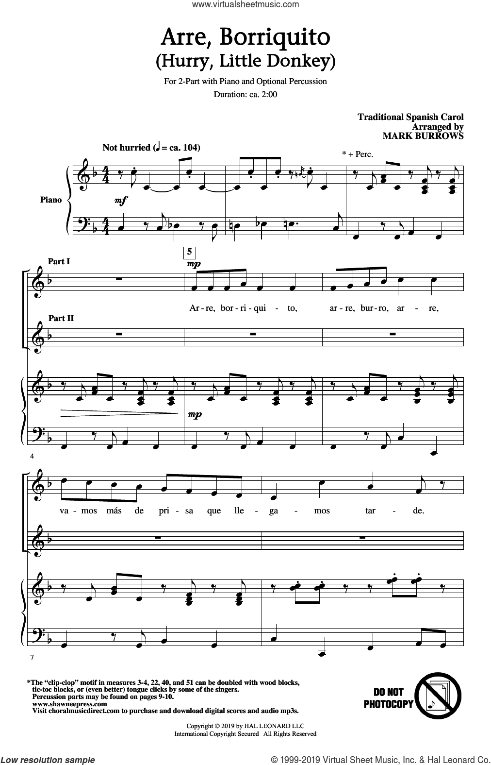 Arre Borriquito (Hurry, Little Donkey) (arr. Mark Burrows) sheet music for choir (2-Part)  and Mark Burrows, intermediate duet