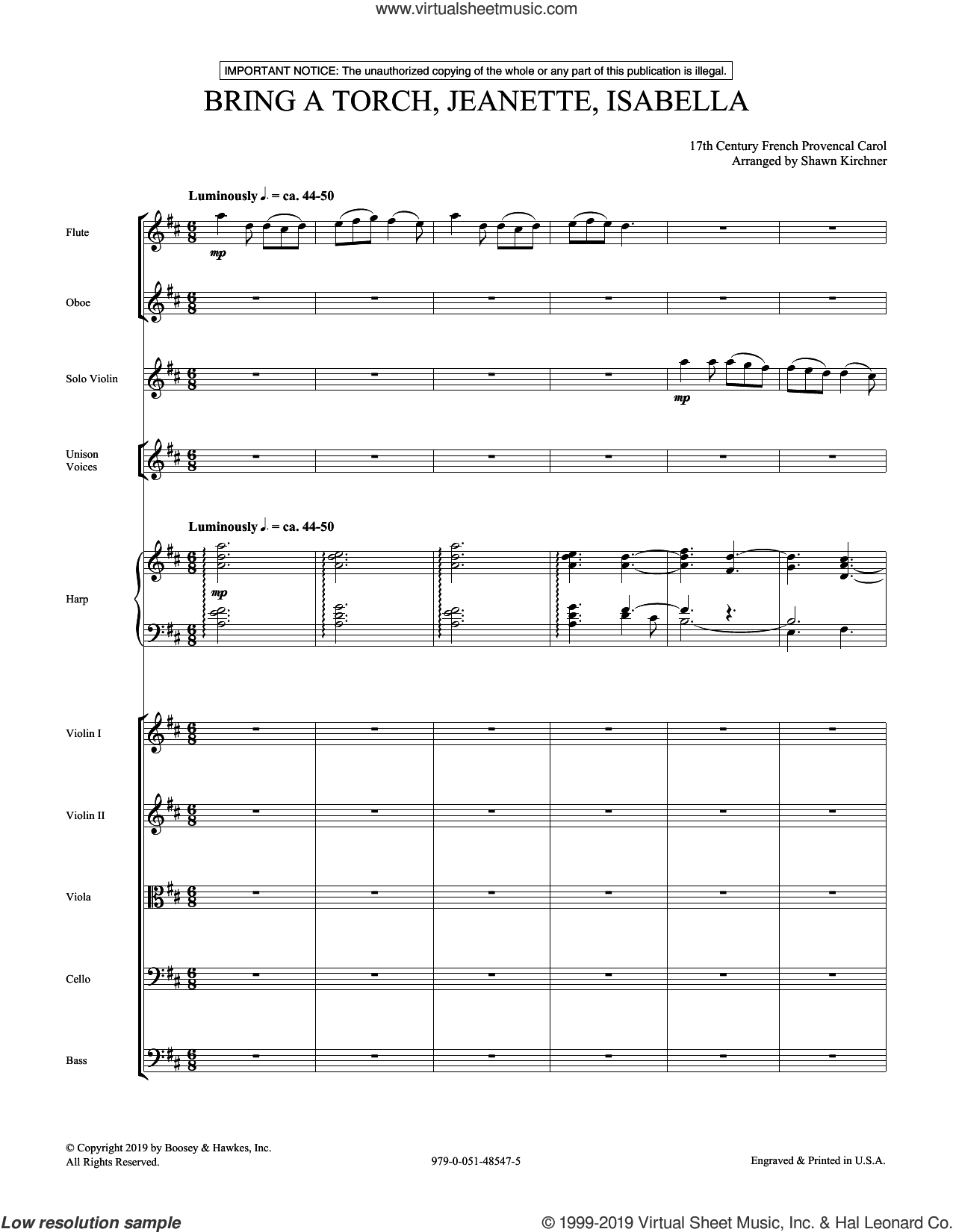 Bring a Torch, Jeanette, Isabella (arr. Shawn Kirchner) (COMPLETE) sheet music for orchestra/band by Shawn Kirchner and 17th Century French Provencal, intermediate skill level
