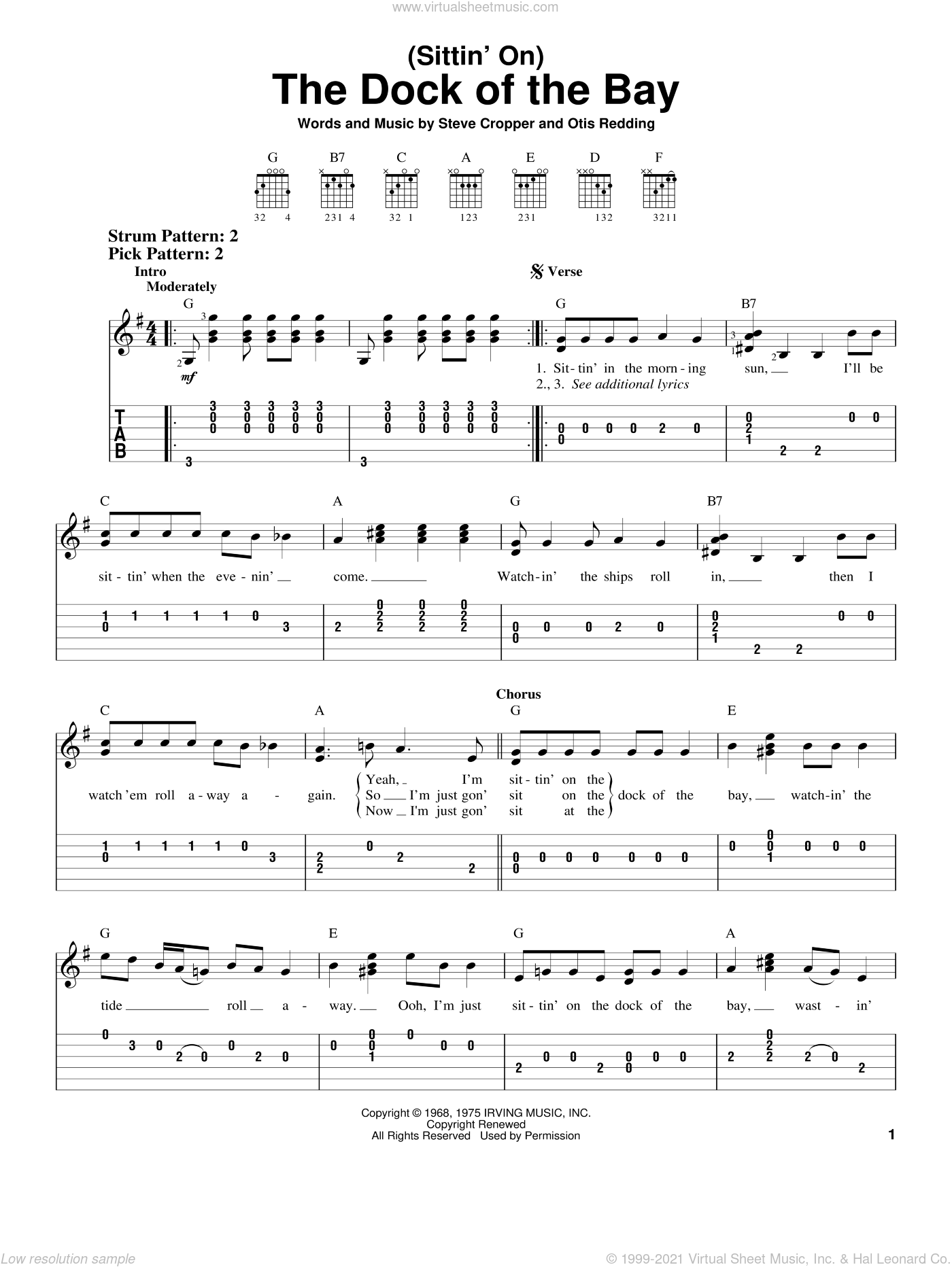 (Sittin' On) The Dock Of The Bay sheet music for guitar solo (easy tablature) by Otis Redding and Steve Cropper, easy guitar (easy tablature). Score Image Preview.